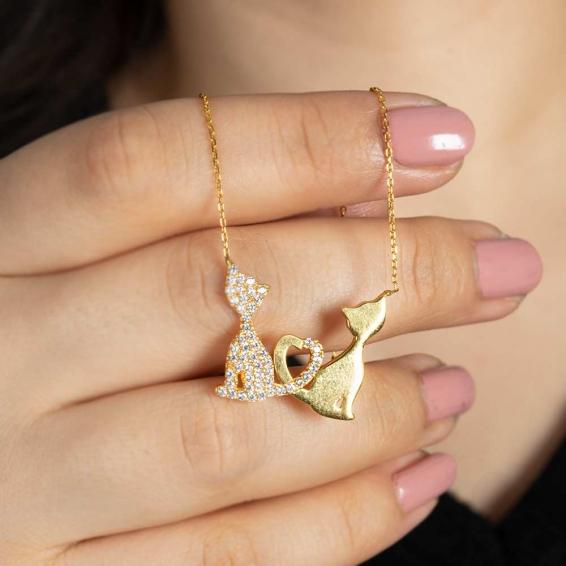 Mücevher Dünyası - 22 Ayar Taşlı Kedili Tasarım Altın Kolye - 5,19 Gr.