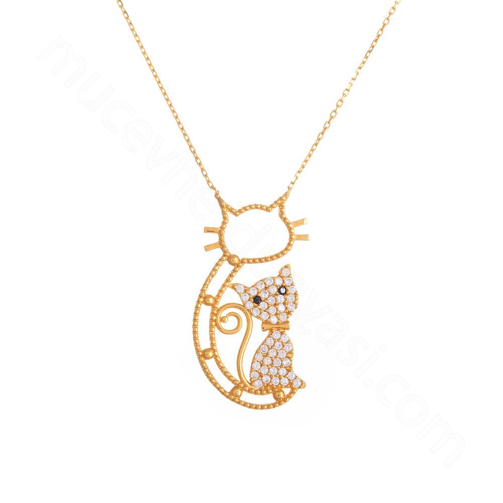 Mücevher Dünyası - 22 Ayar Taşlı Kedili Tasarım Altın Kolye - 5,99 Gr.