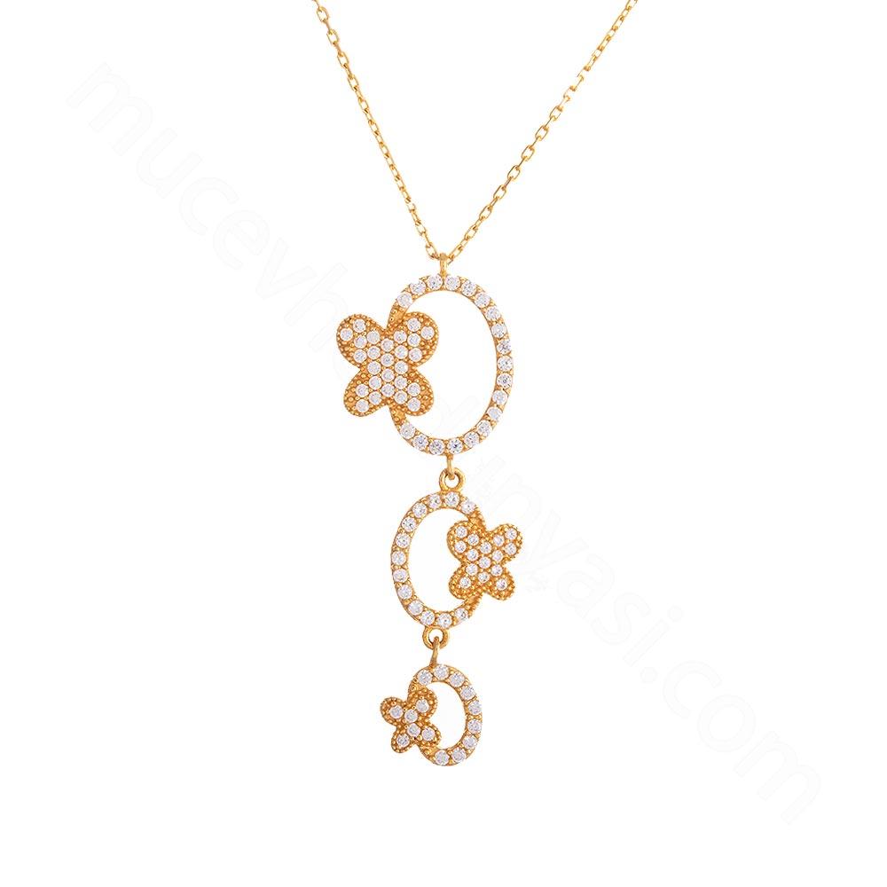 Mücevher Dünyası - 22 Ayar Taşlı Kelebek Altın Kolye - 4,58 Gr.