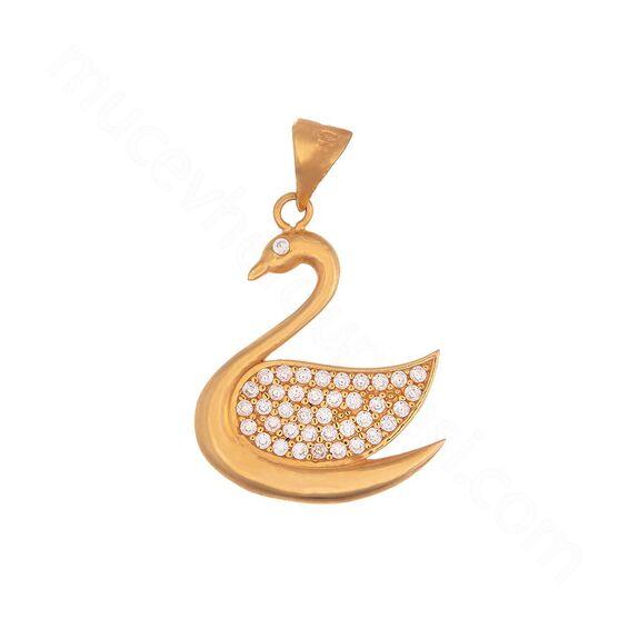 Mücevher Dünyası - 22 Ayar Taşlı Kuğu Altın Kolye Ucu - 2,50 Gr.