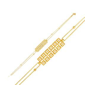 Mücevher Dünyası - 22 Ayar Taşlı Künye Altın Bileklik - 5,44 Gr.