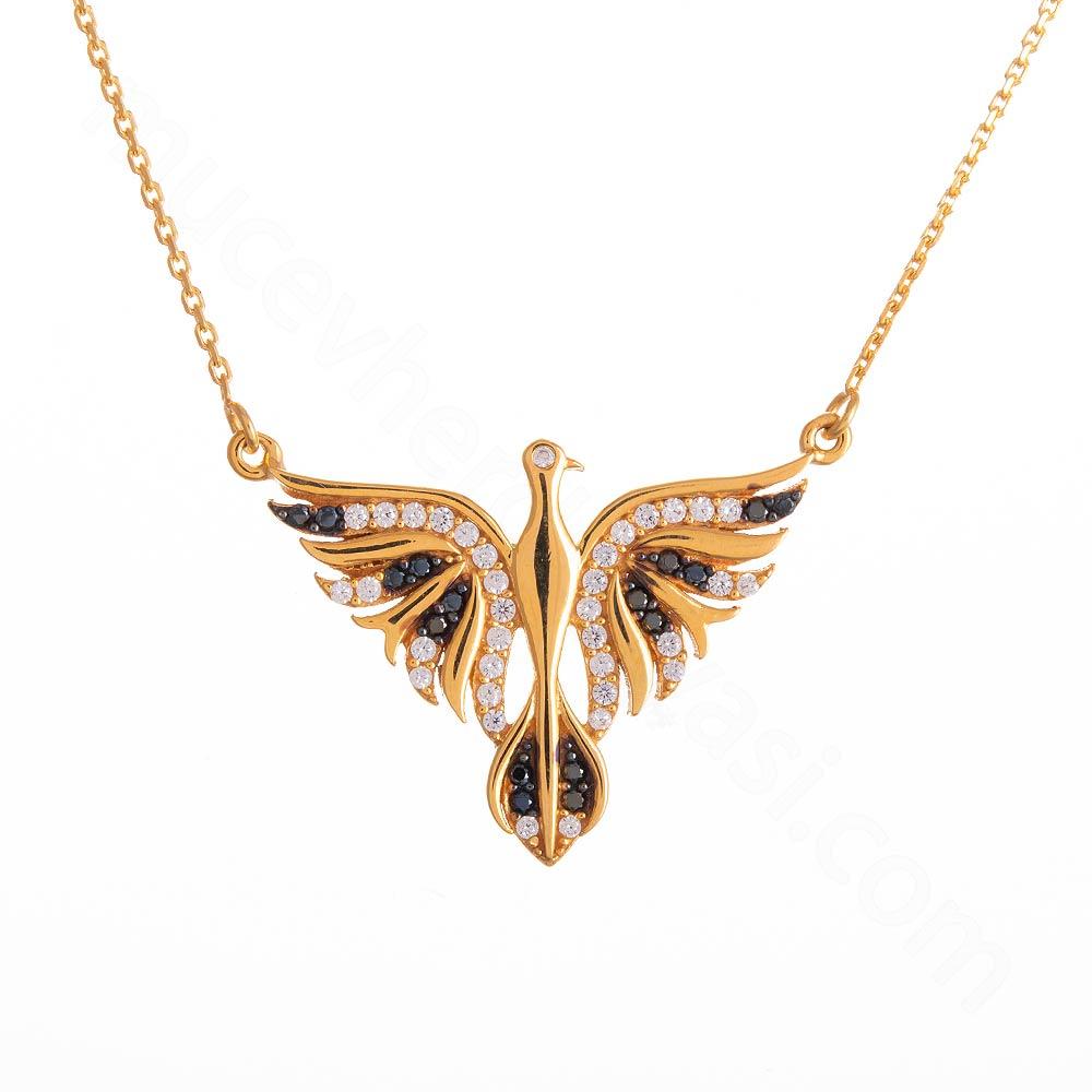 Mücevher Dünyası - 22 Ayar Taşlı Kuş Altın Kolye - 5,71 Gr.