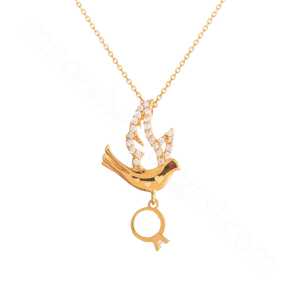 Mücevher Dünyası - 22 Ayar Taşlı Kuş ve Tektaş Yüzük Altın Kolye - 3,64 Gr.