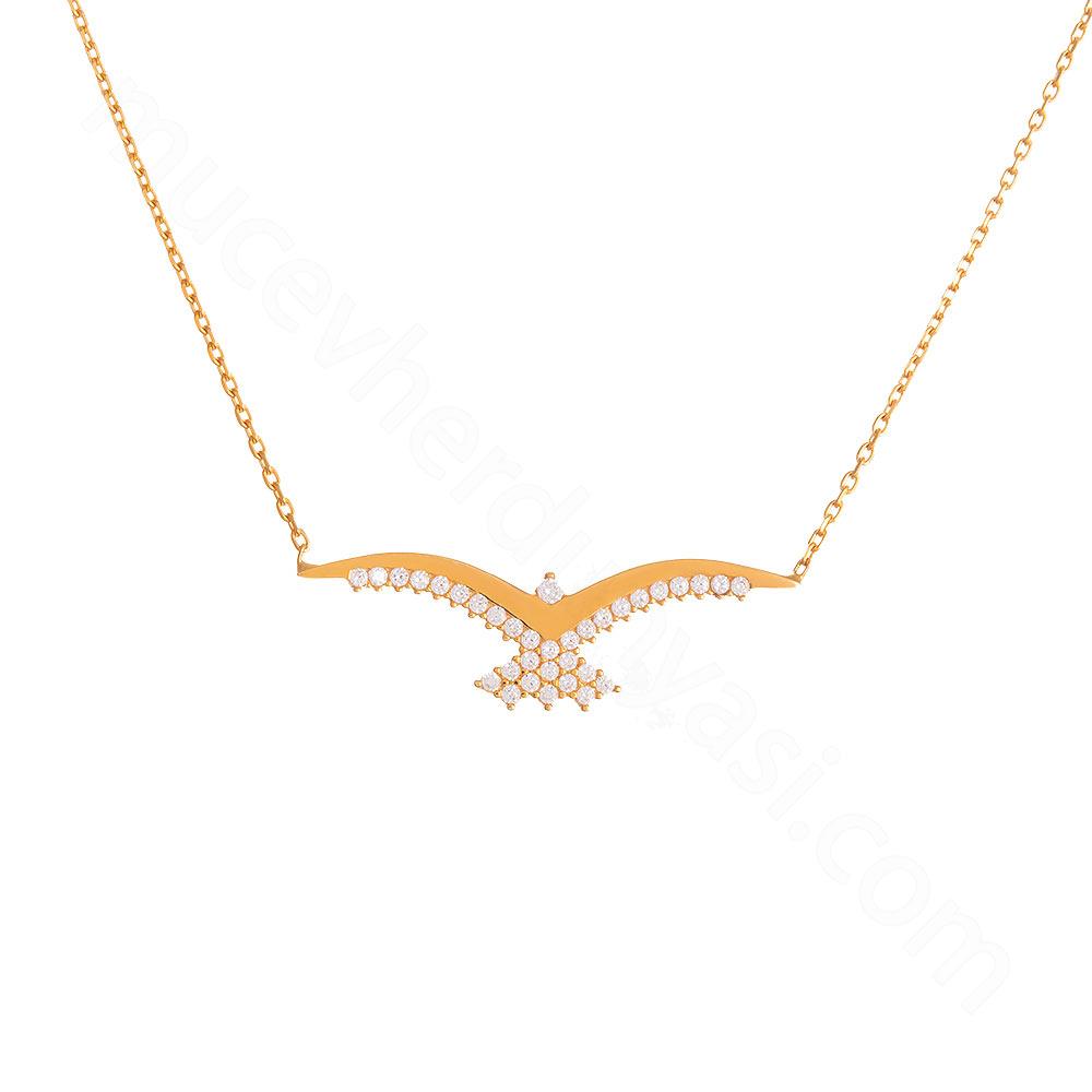 Mücevher Dünyası - 22 Ayar Taşlı Martı Altın Kolye - 3,00 Gr.