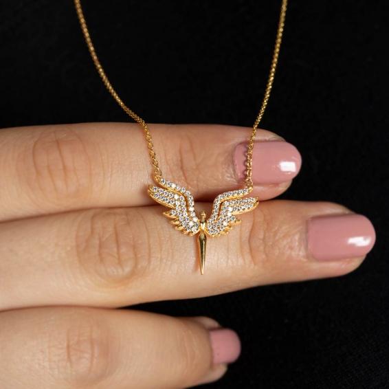 Mücevher Dünyası - 22 Ayar Taşlı Melek Kolye - 4,63 Gr.