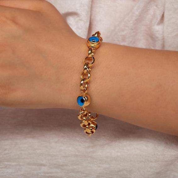 Mücevher Dünyası - 22 Ayar Taşlı Nazar Boncuklu Altın Bileklik - 11,74 Gr. - 21 Cm.