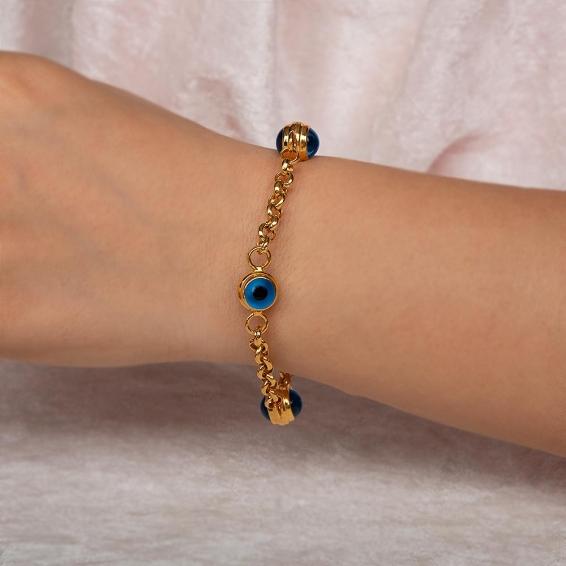 Mücevher Dünyası - 22 Ayar Taşlı Nazar Boncuklu Altın Bileklik - 13,47 Gr. - 20 Cm.