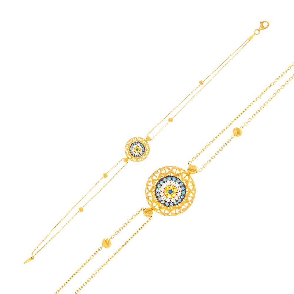 Mücevher Dünyası - 22 Ayar Taşlı Nazar Boncuklu Dorika Altın Bileklik - 3,32 Gr.