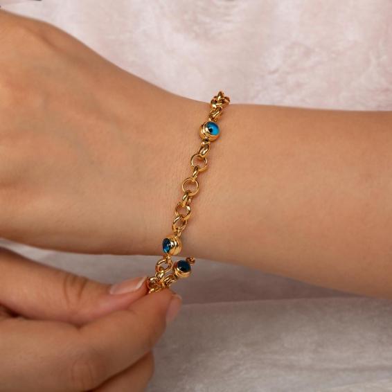Mücevher Dünyası - 22 Ayar Taşlı Nazar Boncuklu Altın Bileklik - 5 Gr. - 19 Cm.