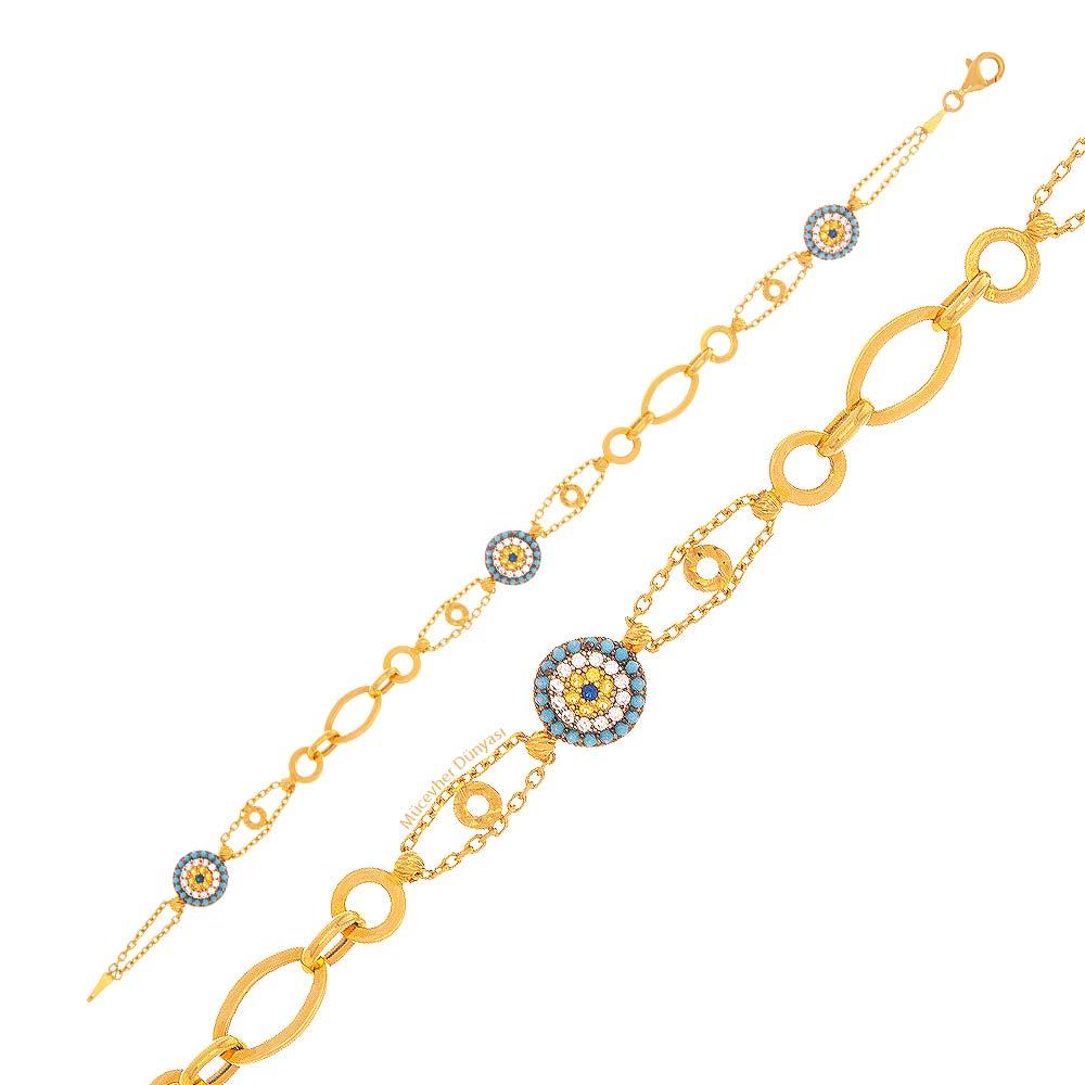 Mücevher Dünyası - 22 Ayar Taşlı Nazar Boncuklu Altın Bileklik - 6.38 Gr.