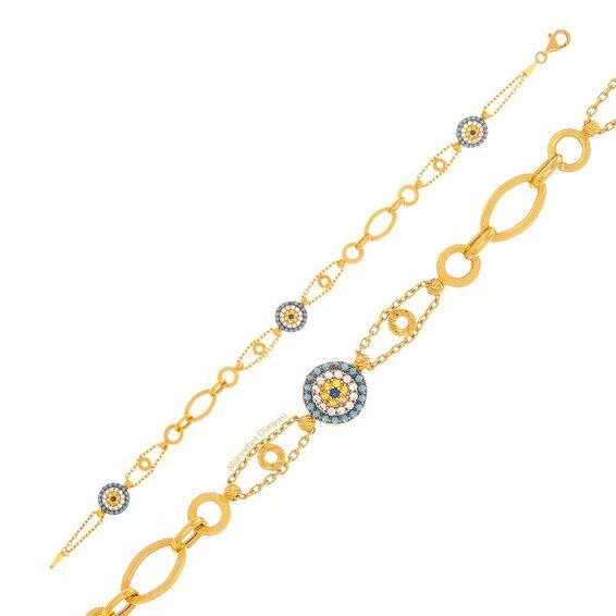 Mücevher Dünyası - 22 Ayar Taşlı Nazar Boncuklu Altın Bileklik - 6,38 Gr.