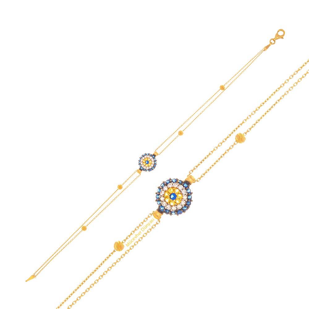 Mücevher Dünyası - 22 Ayar Taşlı Nazar Boncuklu Dorika Altın Bileklik - 3,23 Gr.
