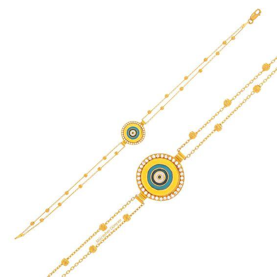 Mücevher Dünyası - 22 Ayar Taşlı Nazar Boncuklu Dorika Altın Bileklik - 4,71 Gr.
