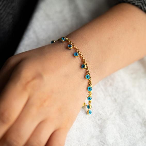 Mücevher Dünyası - 22 Ayar Taşlı Nazar Boncuklu Tohumlu Altın Bileklik - 6,85 Gr. - 19 Cm.