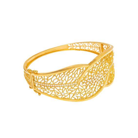 Mücevher Dünyası - 22 Ayar Taşlı Özel Tasarım Altın Kelepçe - 20,75 Gr.