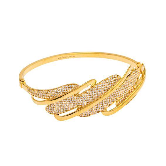 Mücevher Dünyası - 22 Ayar Taşlı Özel Tasarım Altın Kelepçe - 17,93 Gr.