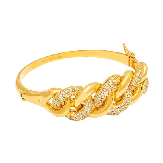 Mücevher Dünyası - 22 Ayar Taşlı Özel Tasarım Altın Kelepçe - 38,20 Gr.