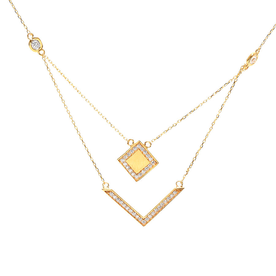 Mücevher Dünyası - 22 Ayar Taşlı Özel Tasarım Altın Kolye - 4,11 Gr.