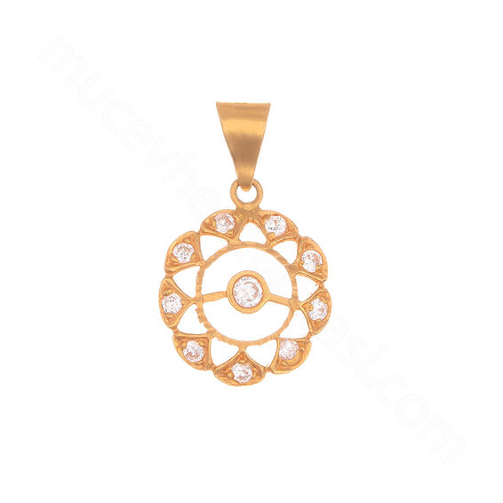 Mücevher Dünyası - 22 Ayar Taşlı Özel Tasarım Altın Kolye Ucu - 2,13 Gr.