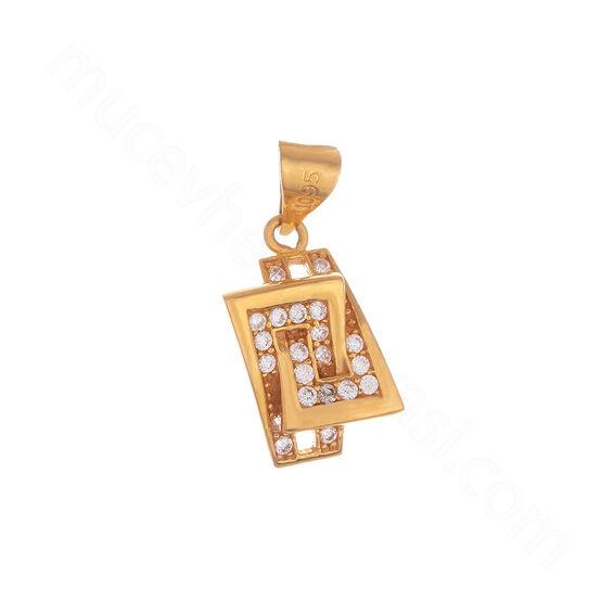 Mücevher Dünyası - 22 Ayar Taşlı Özel Tasarım Altın Kolye Ucu - 2,47 Gr.
