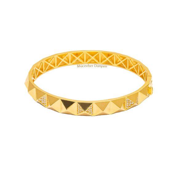 Mücevher Dünyası - 22 Ayar Taşlı Piramit Altın Kelepçe - 20,05 Gr.
