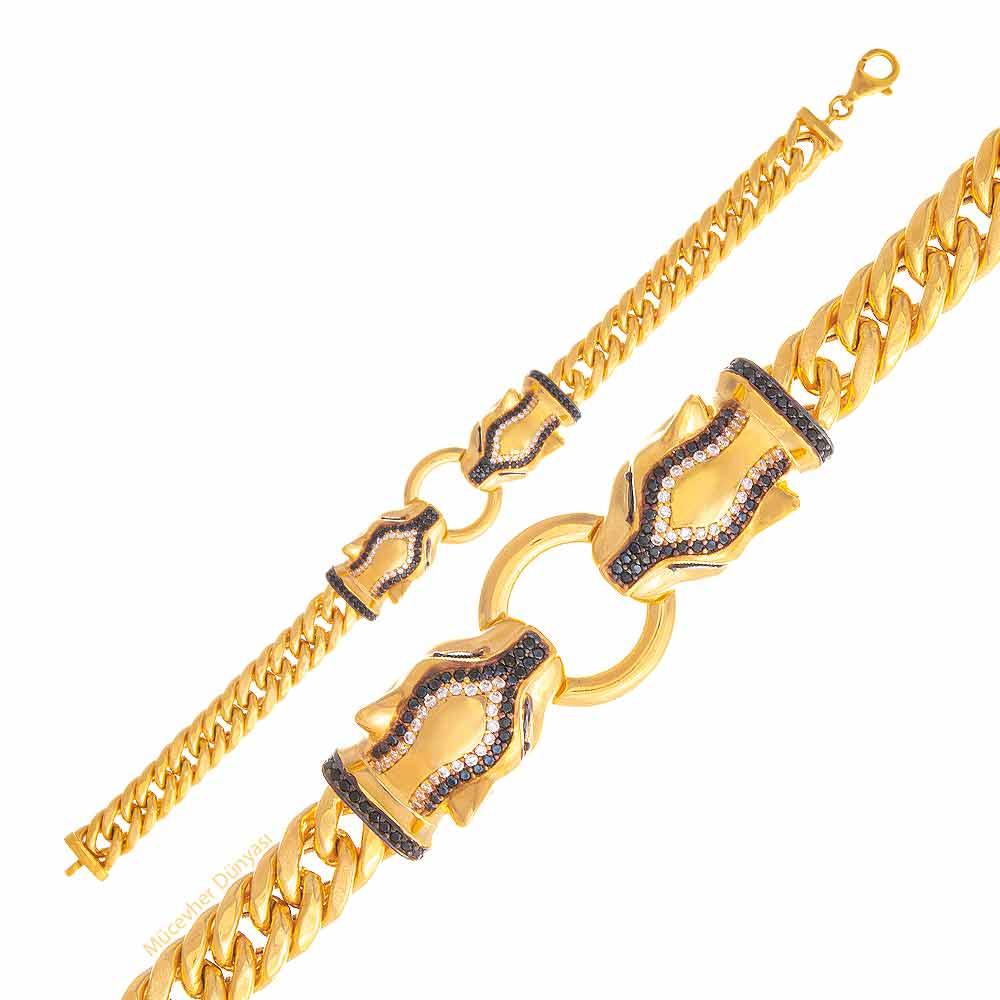 Mücevher Dünyası - 22 Ayar Taşlı Panter Altın Bileklik - 30.35 Gr.