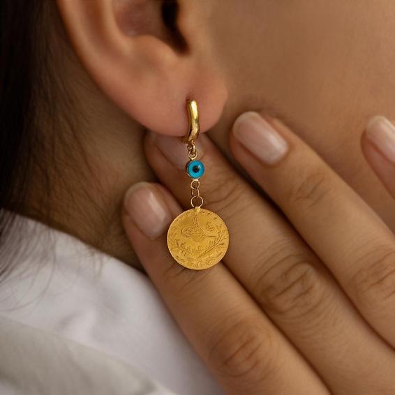 Mücevher Dünyası - 22 Ayar Taşlı Reşatlı Sallantılı Altın Küpe - 5,83 Gr.