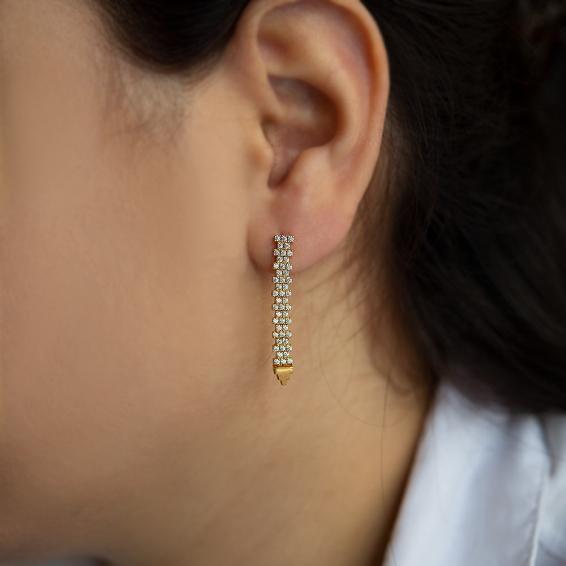 Mücevher Dünyası - 22 Ayar Taşlı Sallantılı Altın Küpe - 4,33 Gr.
