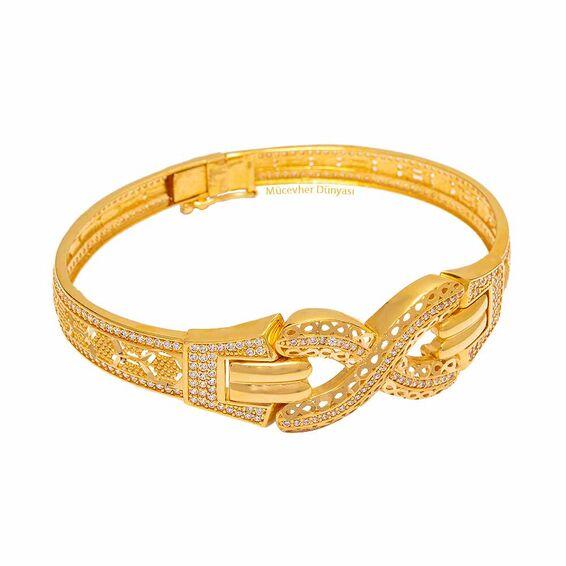 Mücevher Dünyası - 22 Ayar Taşlı Sonsuzluk Altın Kelepçe - 24,24 Gr.