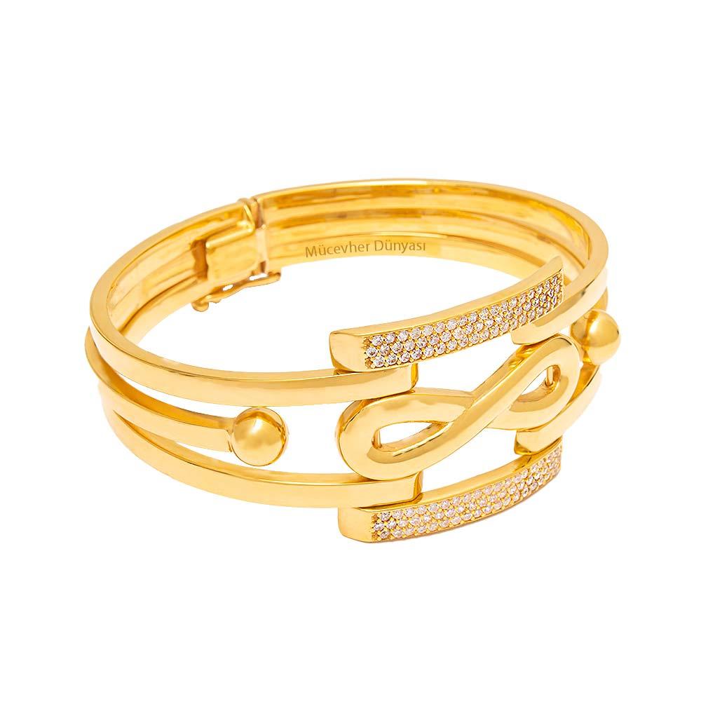 Mücevher Dünyası - 22 Ayar Taşlı Sonsuzluk Simgeli Altın Kelepçe - 32.98 Gr.