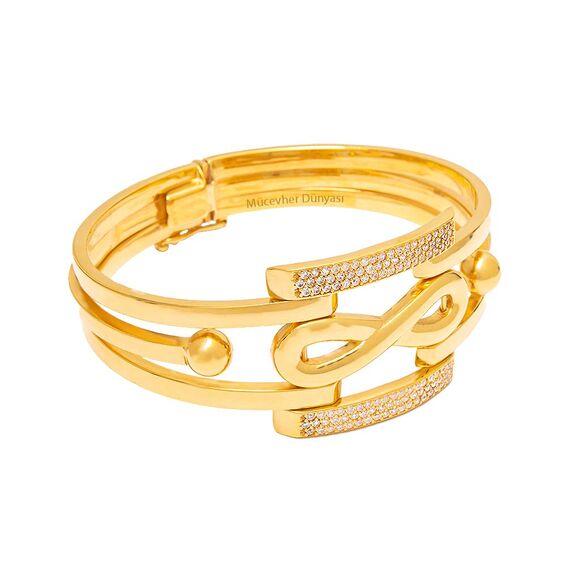 Mücevher Dünyası - 22 Ayar Taşlı Sonsuzluk Simgeli Altın Kelepçe - 32,98 Gr.