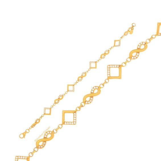 Mücevher Dünyası - 22 Ayar Taşlı Sonsuzluk ve Dörtgen Altın Bileklik - 7,17 Gr.