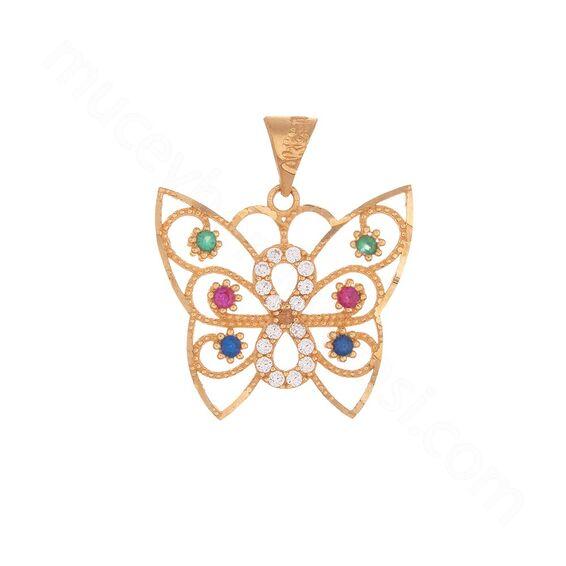 Mücevher Dünyası - 22 Ayar Taşlı Sonsuzluk ve Kelebek Altın Kolye Ucu - 2,37 Gr.