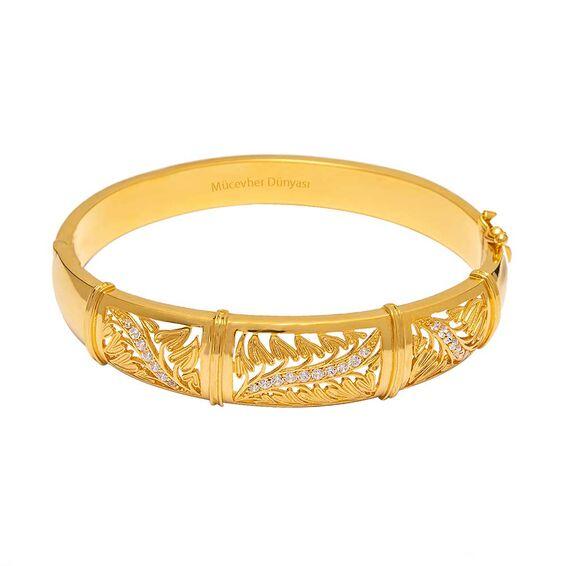 Mücevher Dünyası - 22 Ayar Taşlı Tasarım Altın Kelepçe - 30,27 Gr.