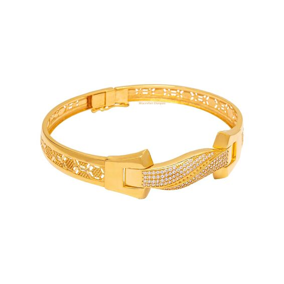 Mücevher Dünyası - 22 Ayar Taşlı Tasarım Altın Kelepçe - 20,11 Gr.