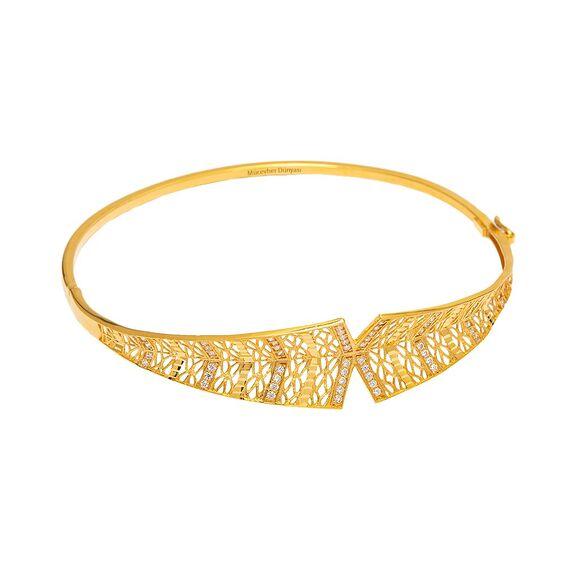 Mücevher Dünyası - 22 Ayar Taşlı Tasarım Altın Kelepçe - 6,80 Gr.