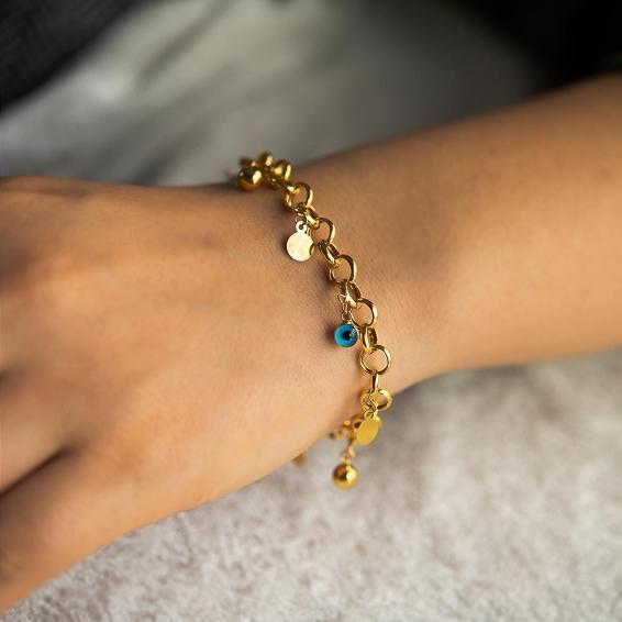 Mücevher Dünyası - 22 Ayar Taşlı Tohumlu Altın Bileklik - 5,88 Gr. - 18,5 Cm.