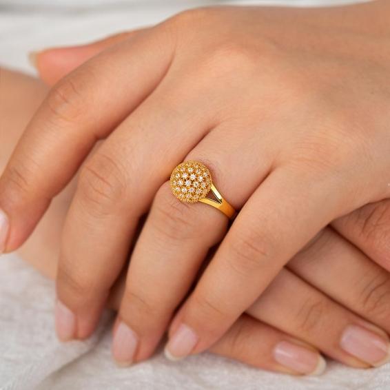Mücevher Dünyası - 22 Ayar Taşlı Top Altın Fantezi Yüzük - 5,71 Gr. - 15