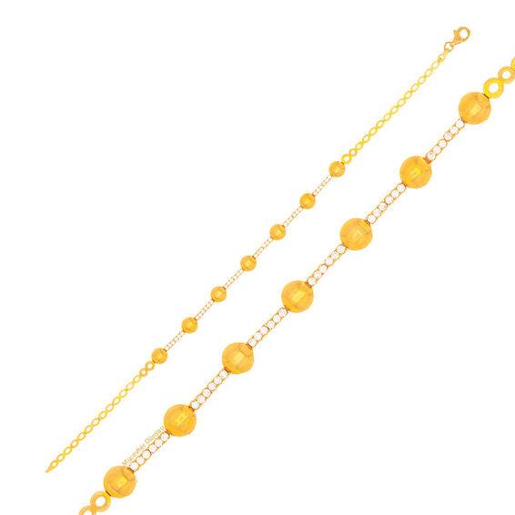 Mücevher Dünyası - 22 Ayar Taşlı Toplu Altın Bileklik - 6,77 Gr.