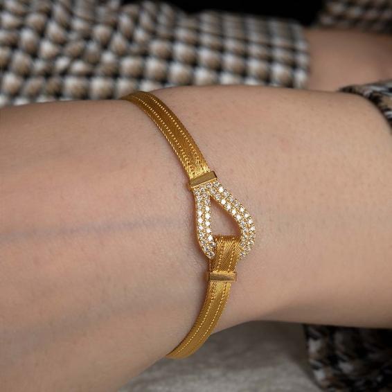 Mücevher Dünyası - 22 Ayar Taşlı Trabzon Hasır Kordonlu Altın Bileklik - 10,71 Gr.