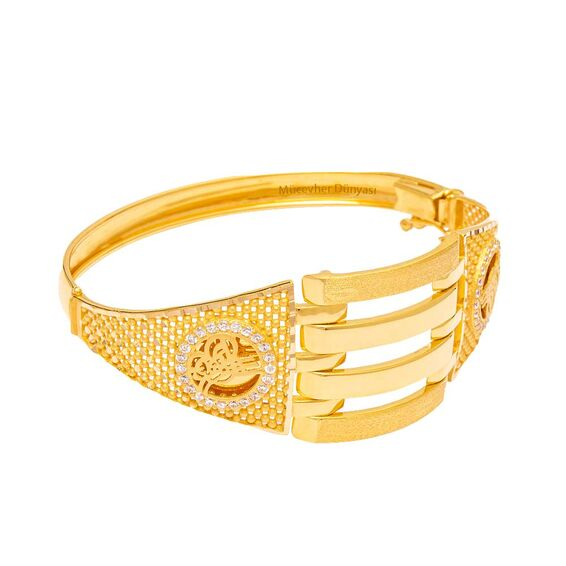 Mücevher Dünyası - 22 Ayar Taşlı Tuğra Kaburga Altın Kelepçe - 23.66 Gr.