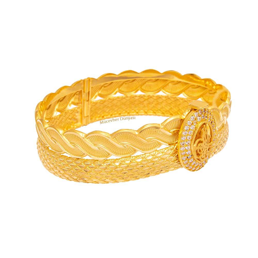 Mücevher Dünyası - 22 Ayar Taşlı Tuğra Tasarım Altın Kelepçe - 24.80 Gr.