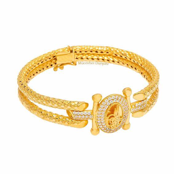 Mücevher Dünyası - 22 Ayar Taşlı Tuğra Tasarım Kaburga Altın Kelepçe - 26,77 Gr.