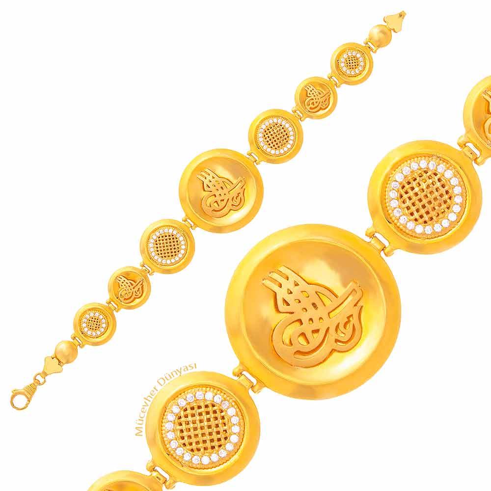 Mücevher Dünyası - 22 Ayar Taşlı Tuğralı Altın Bileklik - 28,35 Gr.