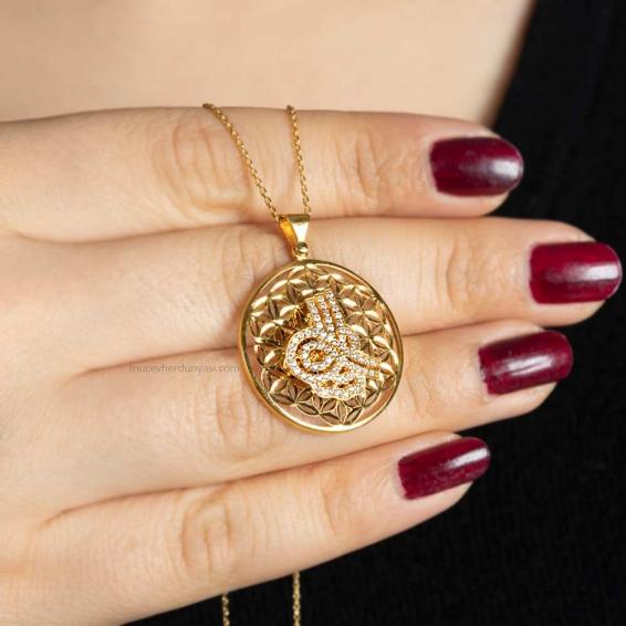 Mücevher Dünyası - 22 Ayar Taşlı Tuğralı Altın Kolye - 6,37 Gr.