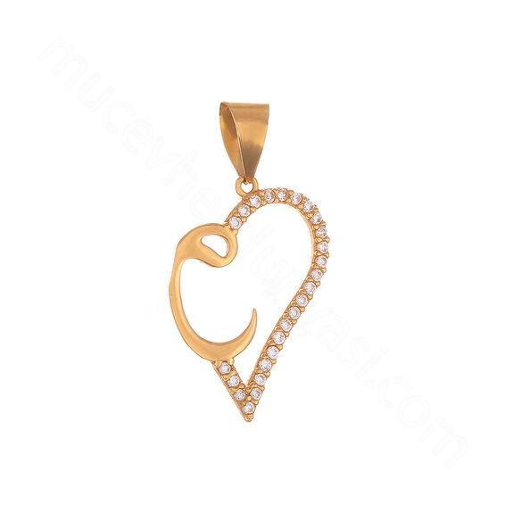 Mücevher Dünyası - 22 Ayar Taşlı Vavlı ve Kalpli Altın Kolye Ucu - 2,02 Gr.