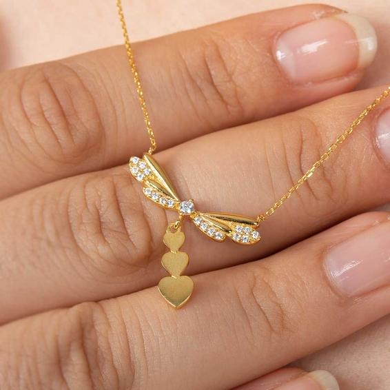 Mücevher Dünyası - 22 Ayar Taşlı ve Kalpli Yusufcuk Altın Kolye - 3 Gr. - 46 Cm.