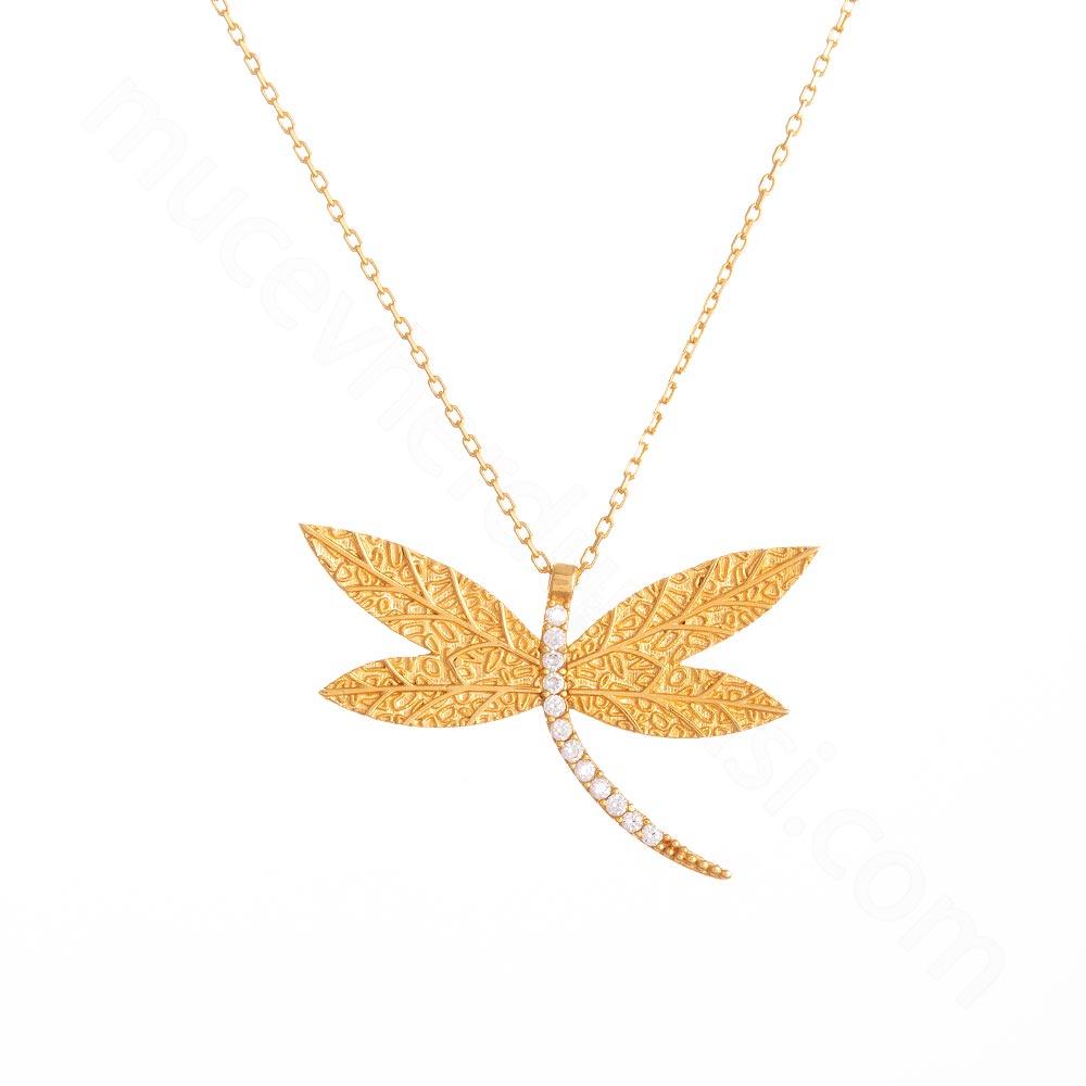 Mücevher Dünyası - 22 Ayar Taşlı Yaprak ve Yusufçuk Altın Kolye - 3,29 Gr.