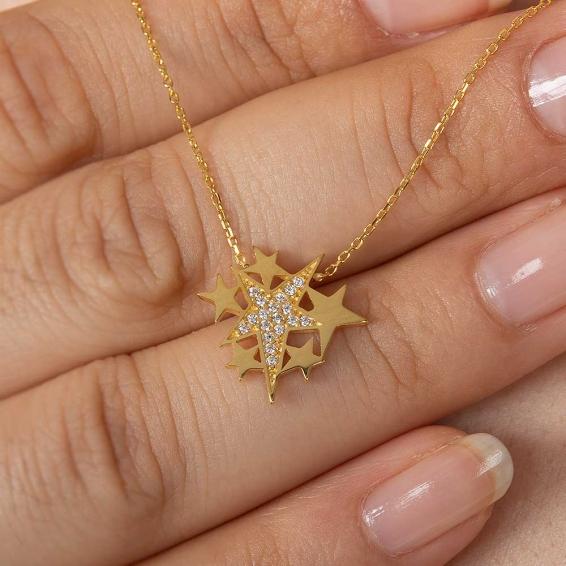 Mücevher Dünyası - 22 Ayar Taşlı Yıldız Altın Kolye - 2,52 Gr. - 44,5 Cm.