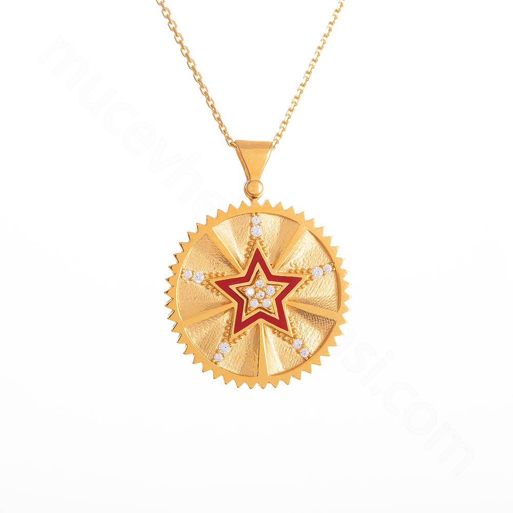 Mücevher Dünyası - 22 Ayar Taşlı Yıldız Tasarım Altın Kolye - 6,66 Gr.